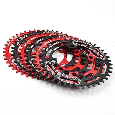 DECKAS Narrow Wide Tooth Chainring Bicycle 32T 34T 36T 38T Chainring 104mm BCD Oval or Round CNC Machined Alloy Fits 9 10 11 Speed Chains Black Round, 38T
