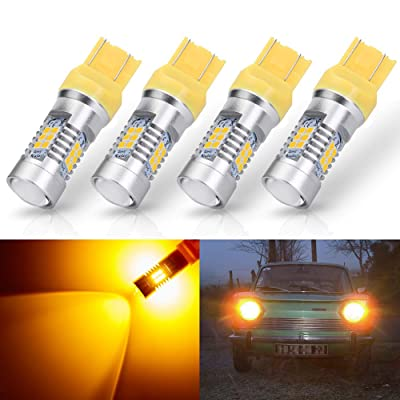 ANTLINE Extremely Bright 7443 7440 T20 7441 992 W21W 21-SMD 2835 Chipsets 1260 Lumens LED Bulb Replacement Amber Yellow for Car Turn Signal Blinker Side Marker Lights Bulbs (Pack of 4): Automotive