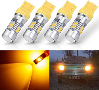 ANTLINE Extremely Bright 7443 7440 T20 7443A 992 W21W 7444 21-SMD 2835 Chipsets 1260 Lumens LED Bulb Replacement Amber Yellow for Car Turn Signal Blinker Side Marker Lights Bulbs (Pack of 4)