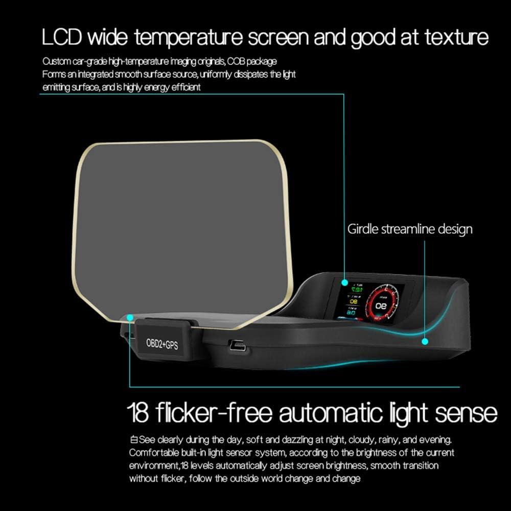 GPS HUD Display 5.03 Zoll Head up Display Wassertemperaturmesser Motordrehzahl Sicherheitsalarme Geschwindigkeitsmesser Auto Tachometer KKmoon Head Up Display Auto Auto HUD Display OBD