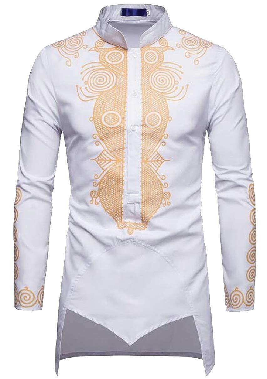 CBTLVSN Mens Casual Long Sleeve African Print Tunic Shirt Blouse Tops
