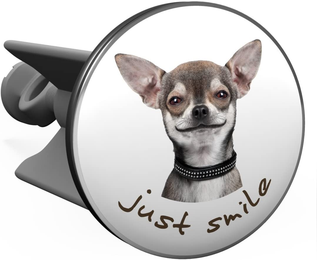Plopp Waschbeckenst/öpsel Smiling Chihuahua Abfluss St/öpsel f/ür Waschbecken Excenter Stopfen Waschtisch