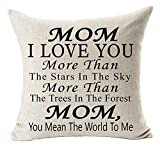 you mean the world to me - Best Gifts For Mom I Love You More Than The Stars In The Sky You Mean The World To Me Blessing Cotton Linen Throw Pillow Case Cushion Cover Home Office Decorative Square 18 X 18 Inches