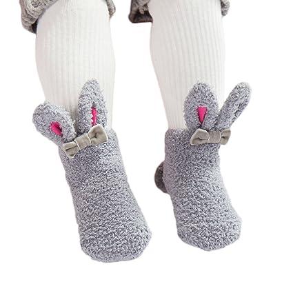 Gespout Calcetines Térmicos Algodón Calcetines Compras para Bebé Niña Chica Infancia Bowknot Antideslizantes Cálido Invierno Cómodo