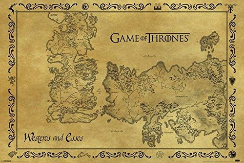 Game of Thrones Antique Westeros & Essos Map 36x24 Art Print poster TV Show Vintage Style