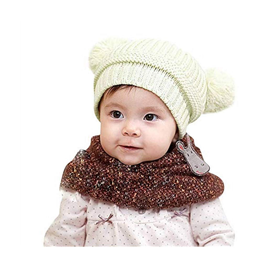 d62e7e8bfbf Kingko ® Toddlers Warm Beanie Hat Girl Boy Winter Knit Fleece Cap Cute  Thick Windproof Bubble Cashmere Pom Crochet Cap Ski Snowboard ...