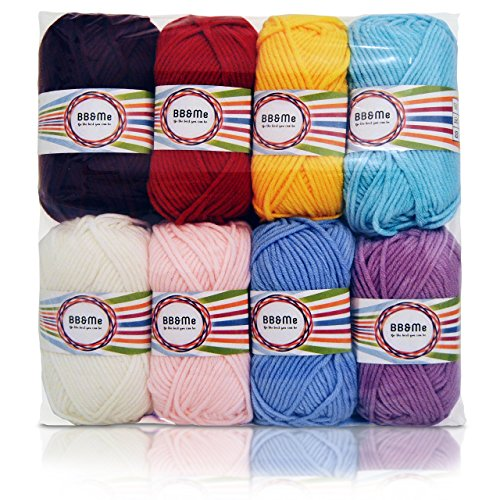 Soft Acrylic Yarn (Worsted Weight Yarn, Yarn for Crocheting, Baby Soft, 100% Acrylic Yarn, 8 X 1.76 Ounce)