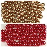 2 Color Combo 200 Elegant Faux 14mm Pearl Beads Table Vase Centerpiece Choose Combo Unique Decorative Gems (RED - ANTIQUE GOLD)