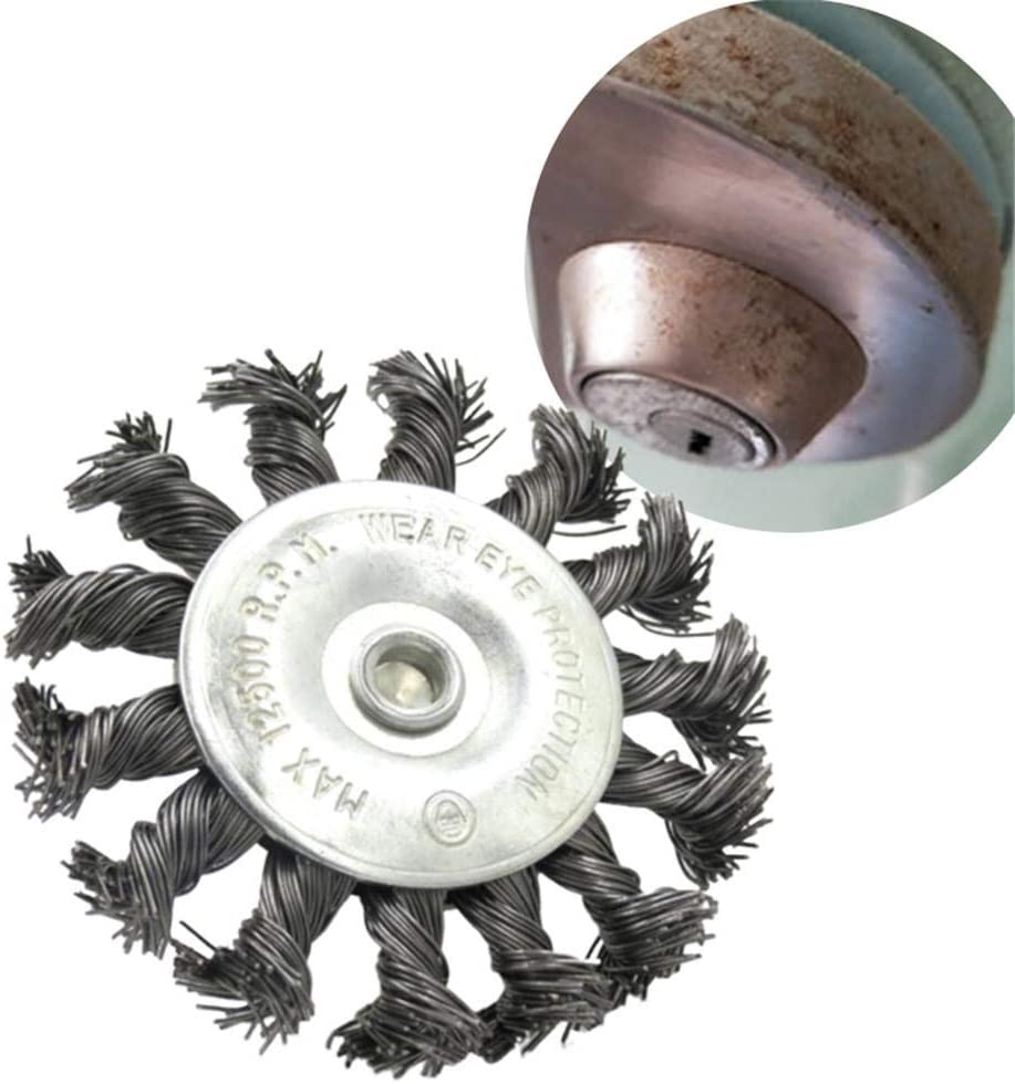 4 Inch Knotted Twisted Wire Wheel with Hex Shank Heavy Duty Twist-Knotted Wire Brush Round Crimp Wheel For Angle Grinder