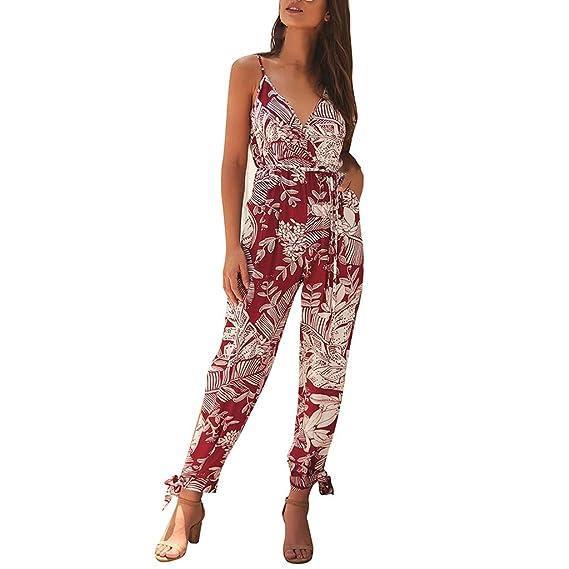 Luckycat Mujeres Mono Jumpsuit para Mujer Elegante Flor de ...