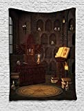 XHFITCLtd Gothic Decor Tapestry, Chamber of Secret Rite with Skulls on the Wall Sacred Sorcery Spell Image, Wall Hanging for Bedroom Living Room Dorm, 60 W x 80 L Inches, Brunette Brown