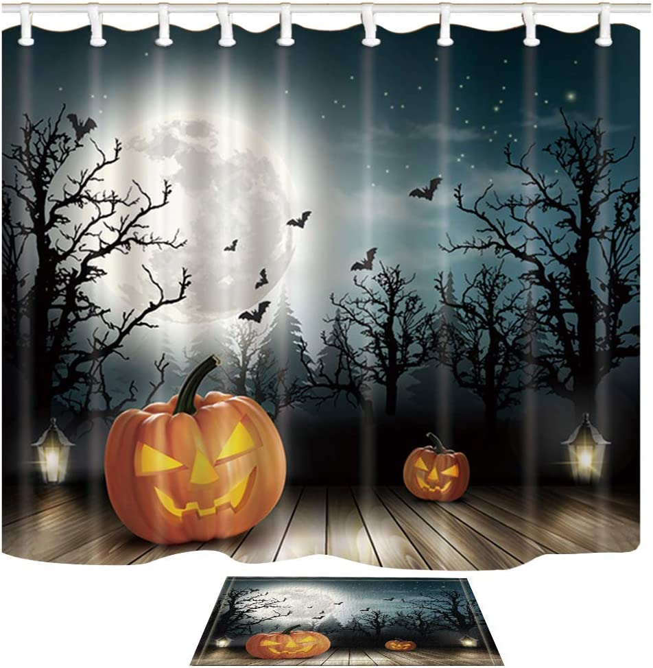 Shocur Halloween Shower Curtain Set, Pumpkin Lights, Bats and Moons Over The Ghost Woods, Bathroom Decor Polyester Fabric 69 x 70 Inches with 12 Hooks and Non-Slip 15 x 23 Inches Bath Rug