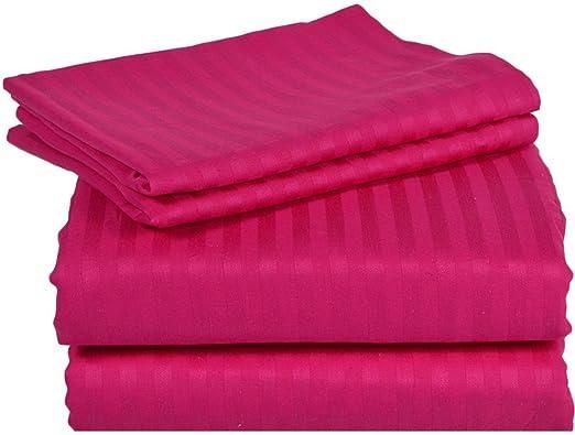 Tula Linen 1000 Hilos 4 Piezas Juego de sábanas (Caliente Rosa Rayas, Reino Unido Doble 135 x 190 cm (121,92 cm 6 in x 6 ft 3 in), Pocket Size 26 cm) 100% de algodón Egipcio: Amazon.es: Hogar