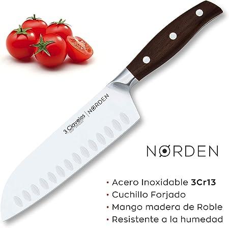 3 Claveles - Juego de 5 Cuchillos Profesionales en Acero Inoxidable Gama Norden, Selección Master Chef, Incluye Estuche
