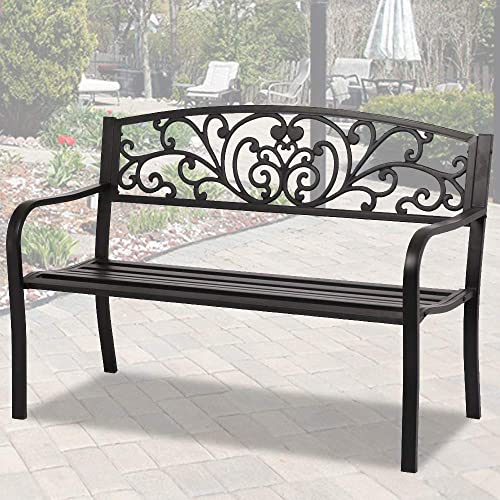 50 Garden Patio Bench Outdoor Metal Park Bench Furniture Cast Iron Porch Chair Seat