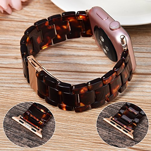 V_moro 38mm Apple Watch Band Women Men- Fashion Resin iWatch Band Bracelet With Copper Stainless Steel Buckle for Apple Watch Series 3 Series 2 Series 1 (Tortoise-tone, 38mm(5''-7.67'')) by V_moro (Image #5)