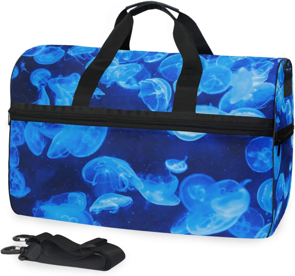 FAJRO Gym Bag Travel Duffel Express Weekender Bag Blue Jellyfish Deep Ocean Carry On Luggage with Shoe Pouch