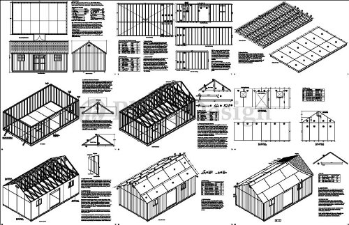 Outdoor Storage Shed Plans 14' x 24' Reverse Gable Roof Style Design # D1424G, Material List Included