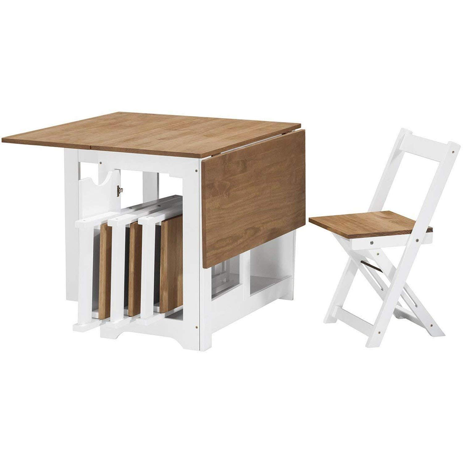- Table And 4 Chairs Wooden White Folding Dining Set Extending Space
