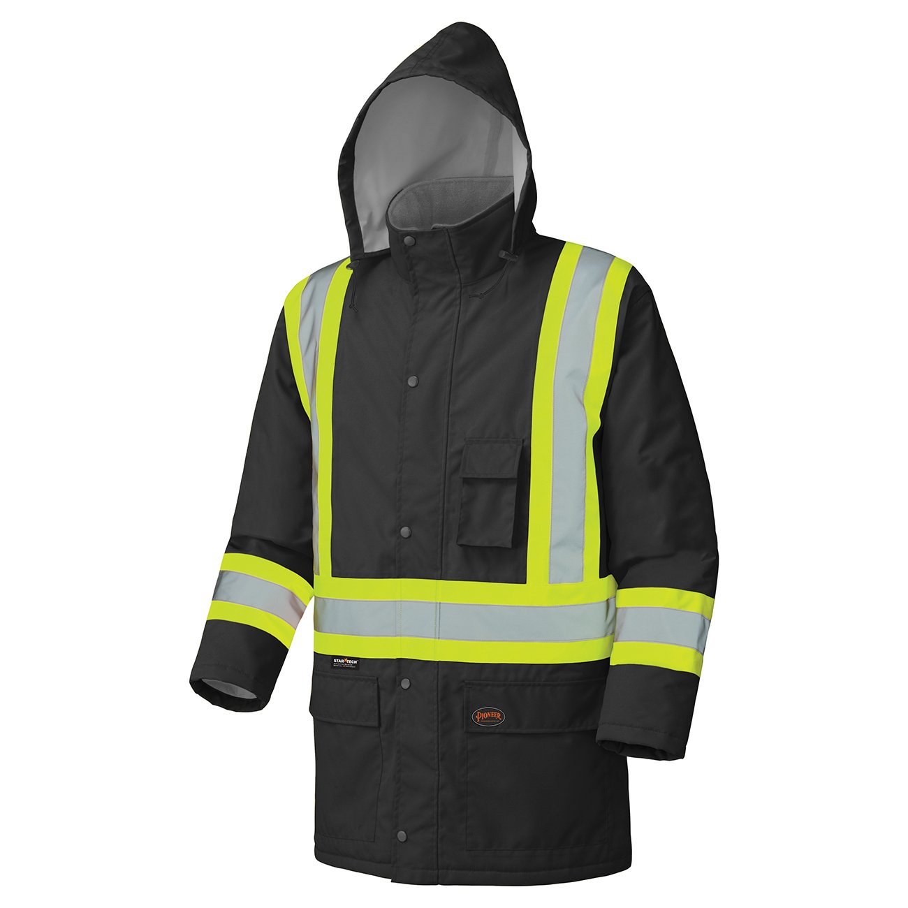 Pioneer Waterproof CSA High-Visibility Winter Safety Parka, 28º C Insulation, Multi-Pockets & Lightweight, Black, 3XL, V1150170-3XL