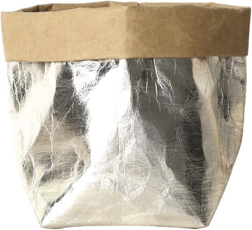 Kraft Sac Usine de Papier Lavable Anti-Effraction Pouch R/éutilisable Usine de Fleur Conteneurs Pliable Multi-Usages Succulent Flowerpot Couverture Accueil Pochette de Rangement 12 23cm Argent 12