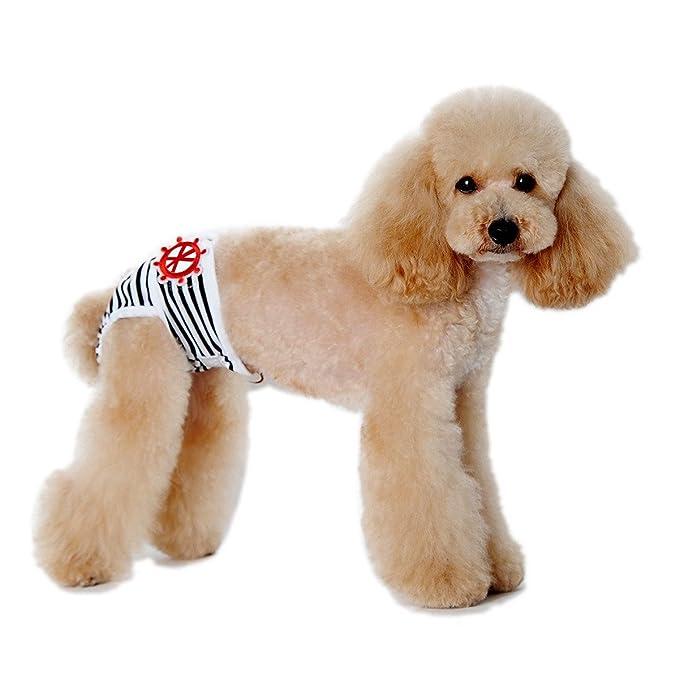 Pet Leso® 3pcs ajustable y lavable perro pañales sanitaria 3 de perro con magictape funciona para pequeño a mediano Perro 3 Colores - Negro, Rojo, ...