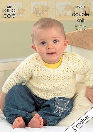 King Cole Crochet Pattern 3250 Baby Crocheted Comfort Dk Sweater