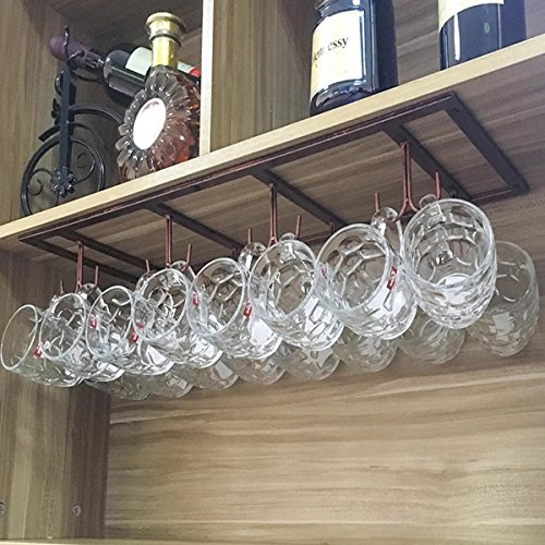 WTT Retro Creative Under Cabinet 12 Hook Shelf,Mugs Cups Wine Glasses Storage Drying Rack,Cabinet Hanging Shelves,Organizer for Ties And Belts,Upside Down Wine Glass Holder(Bronze)