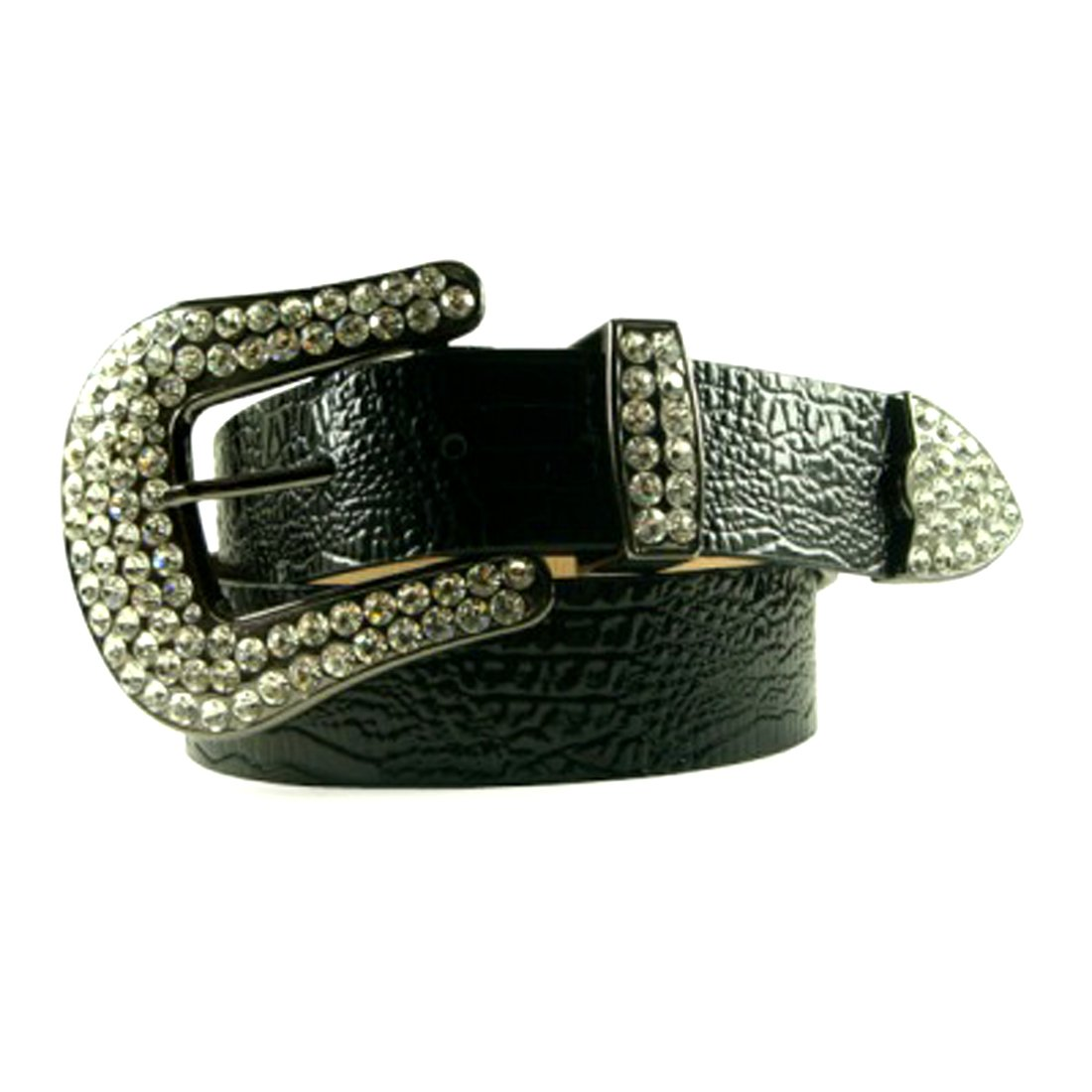 Black Leather Belt in a Crocodile Pattern Decorated in Clear Crystal on a Silver Tone Buckle, Size S/M