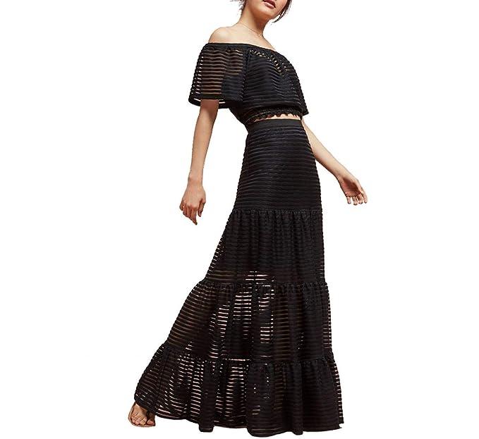 6c1be145ba Starsace Faldas largas Transparentes de Encaje a Rayas para Mujeres hasta  el Suelo Faldas Ajustables de