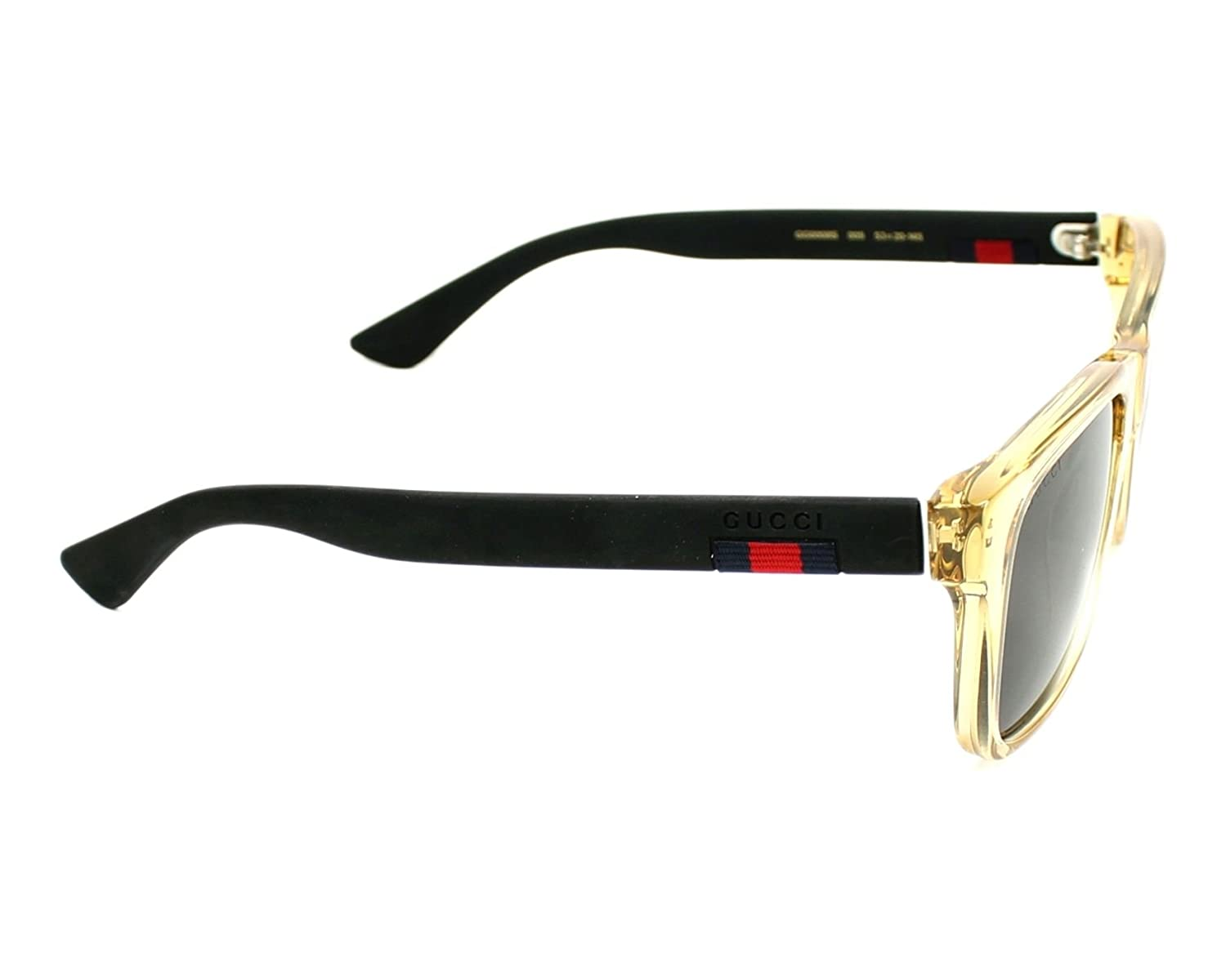 87fdb3d989415 Amazon.com  Gucci GG0008S 005 (Transparent Brown - Matt Black with Grey with  Mirror effect lenses)  Clothing