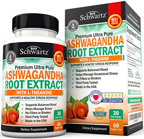 Ashwagandha Root Extract Caps with L-Theanine for Stress & Anxiety Relief- Healthy Mood Stabilizer & Energy Booster – Supplement for Thyroid, Cortisol, Adrenal Support & Improved Focus