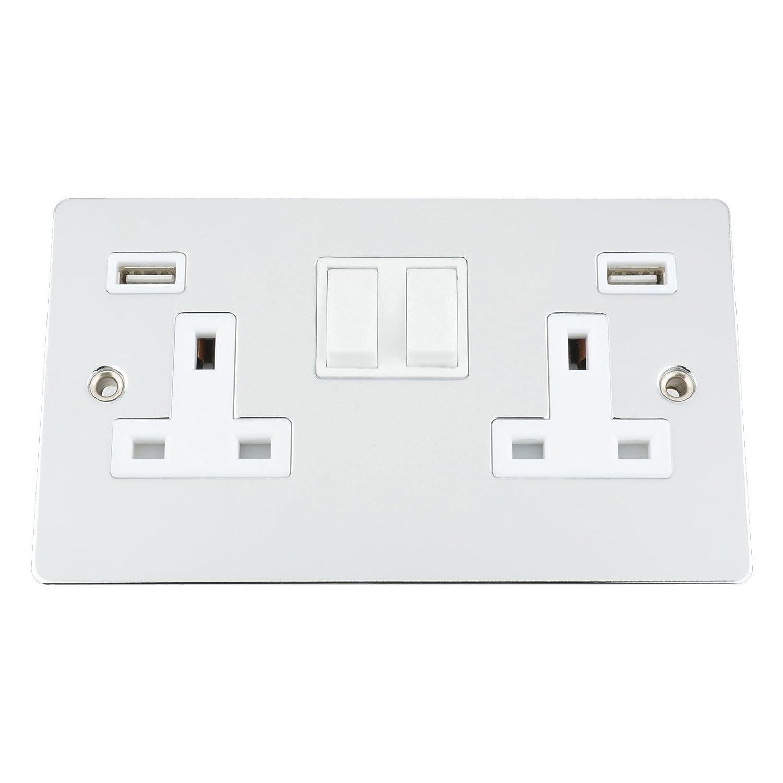 USB Socket 2 Gang - Polished Chrome - Flat - White Insert Plastic Rocker Switch - 13A Double Wall Plug USB Socket (3100mA) A5 Products Ltd