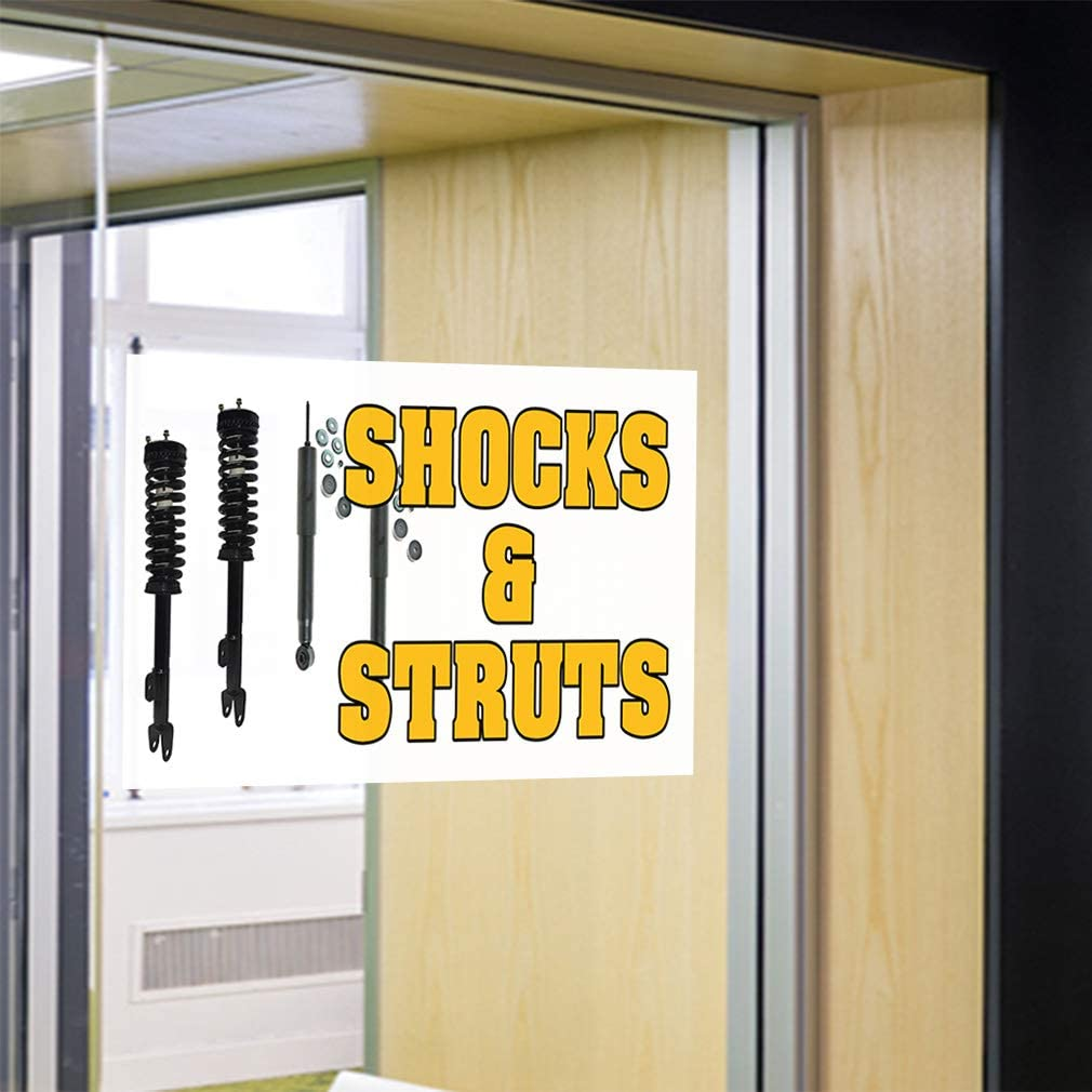 Set of 2 52inx34in Decal Sticker Multiple Sizes Shocks /& Struts #1 Style I Automotive Shocks Struts Outdoor Store Sign Yellow