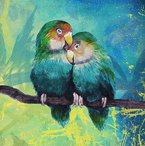 Tropical Birds in Love I by Elizabeth Medley Art Print, 16 x 16 inches