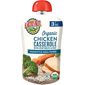 Earth's Best Organic Stage 3 Baby Food, Homestyle Chicken Casserole with Vegetables and Rice, 4.5 Ounce, 12 Count