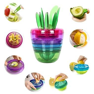 NEX Fruit Slicer Multi Kitchen Tools Gadgets Apple Cutter Avocado Scoop Fruit Slicer Cutter Lemon Squeezer Creative Fruits Plant