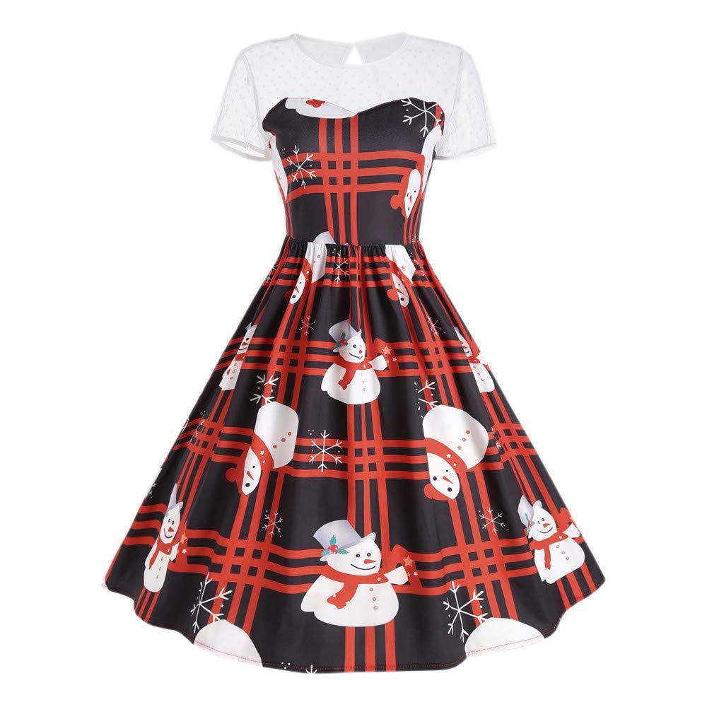 HHei_K Christmas Womens Vintage Loose Short Sleeve Crewneck Plaid Snowman Print Party A-Line Retro Midi Swing Dress