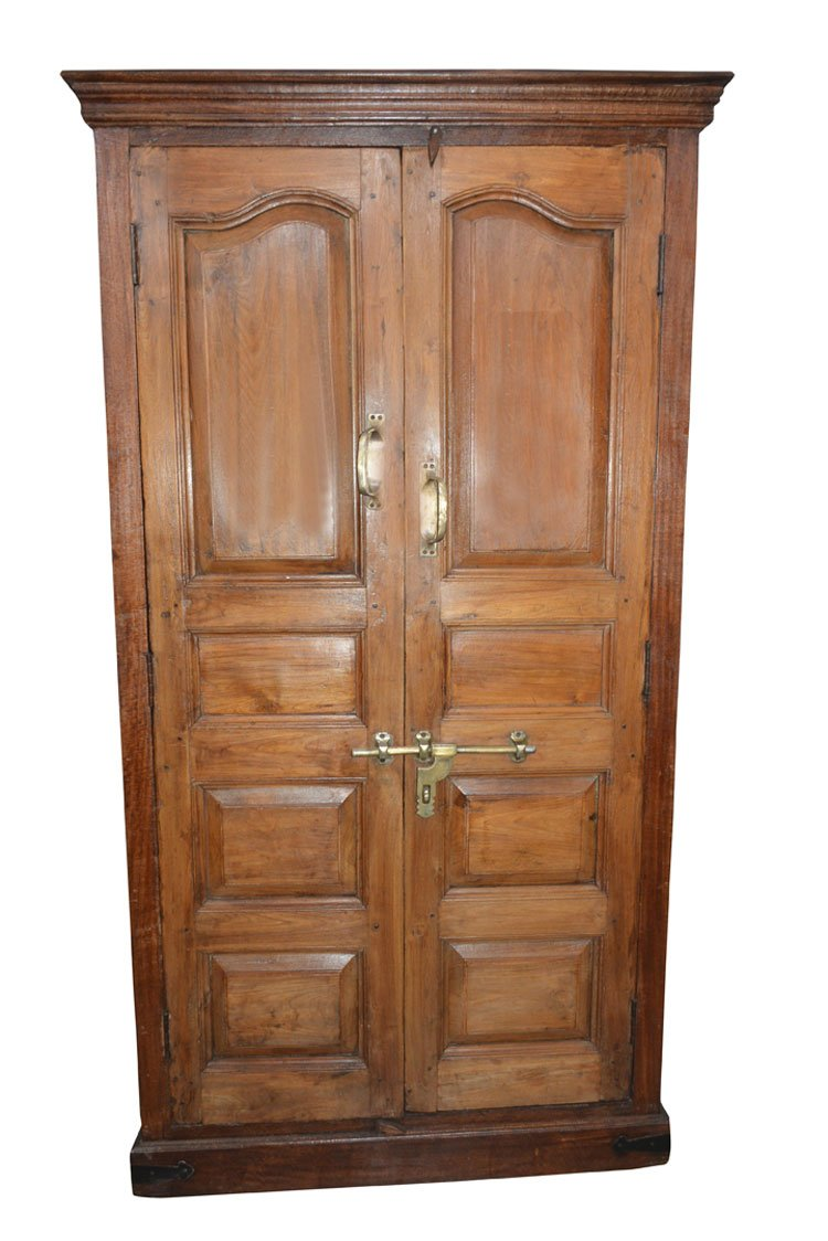 Antique Mogul Cabinet Rustic Teak Wood Armoire Wardrobe Ample Storage Brass latch and handles spanish style