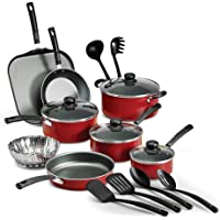 18-Piece Tramontina PrimaWare Nonstick Cookware Set, (Red) by Tramontina