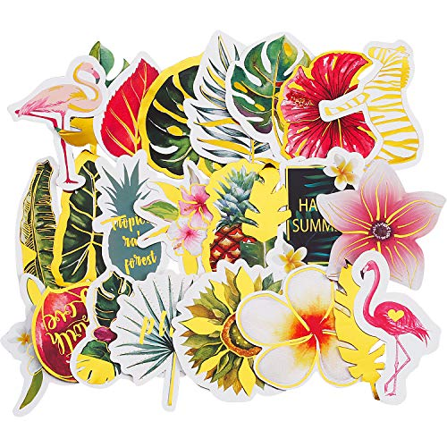 Tropical Scrapbook Stickers - 48 Pieces Tropical Rain Forest Flower Flamingo Cute Stickers Adhesive Stickers for Laptop Computers, Phone Cases, Journals, Scrapbook or Kid Craft (Style B)