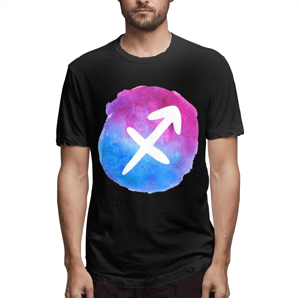 Smooffly Mens Watercolor Sagittarius A Fire Sign Classic Crew Neck Short Sleeves T-Shirt