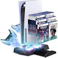 Seelky Vertical Stand For PS5 With Cooling Fan, Controller Charging Dock For PlayStation 5 DualSense Controller,PS 5…