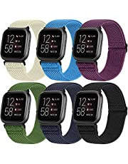 YCHDDER 6 Pack Versa Nylon Watch Band Compatible with Fitbit Versa 2 / Fitbit Versa/Versa Lite/Versa SE, Adjustable Sport Breathable Replacement Watch Straps ,Accessories Wristband For Men Women