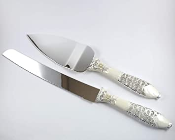 Amazon Com Wedding Cake Knife And Server Set Pearl Wedding Cake