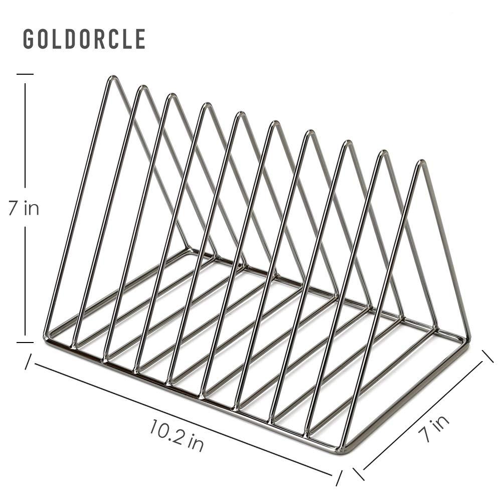 Diamond Black 9 Slot Magazine File Holder for Office Home Decor GoldOrcle Triangle File Holder Metal Wire Metal Magazine Rack File Organizer Desk Organizer