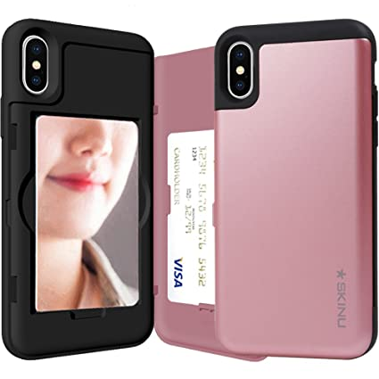 Amazon Com Iphone Xs Case Credit Card Holder Id Slot Mirror Card