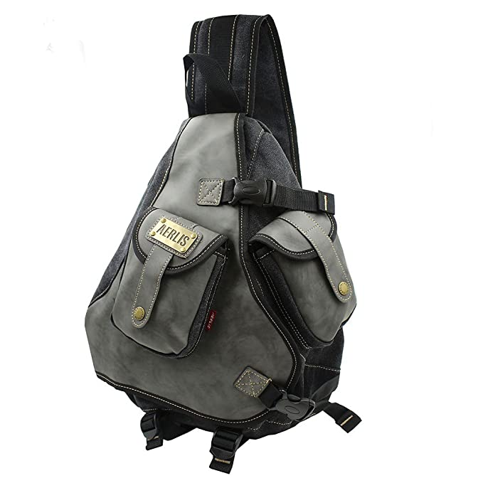 52eca5634c0a Lanica One Strap Sling Cross Body Shoulder Backpack Travel Rucksack (Black)