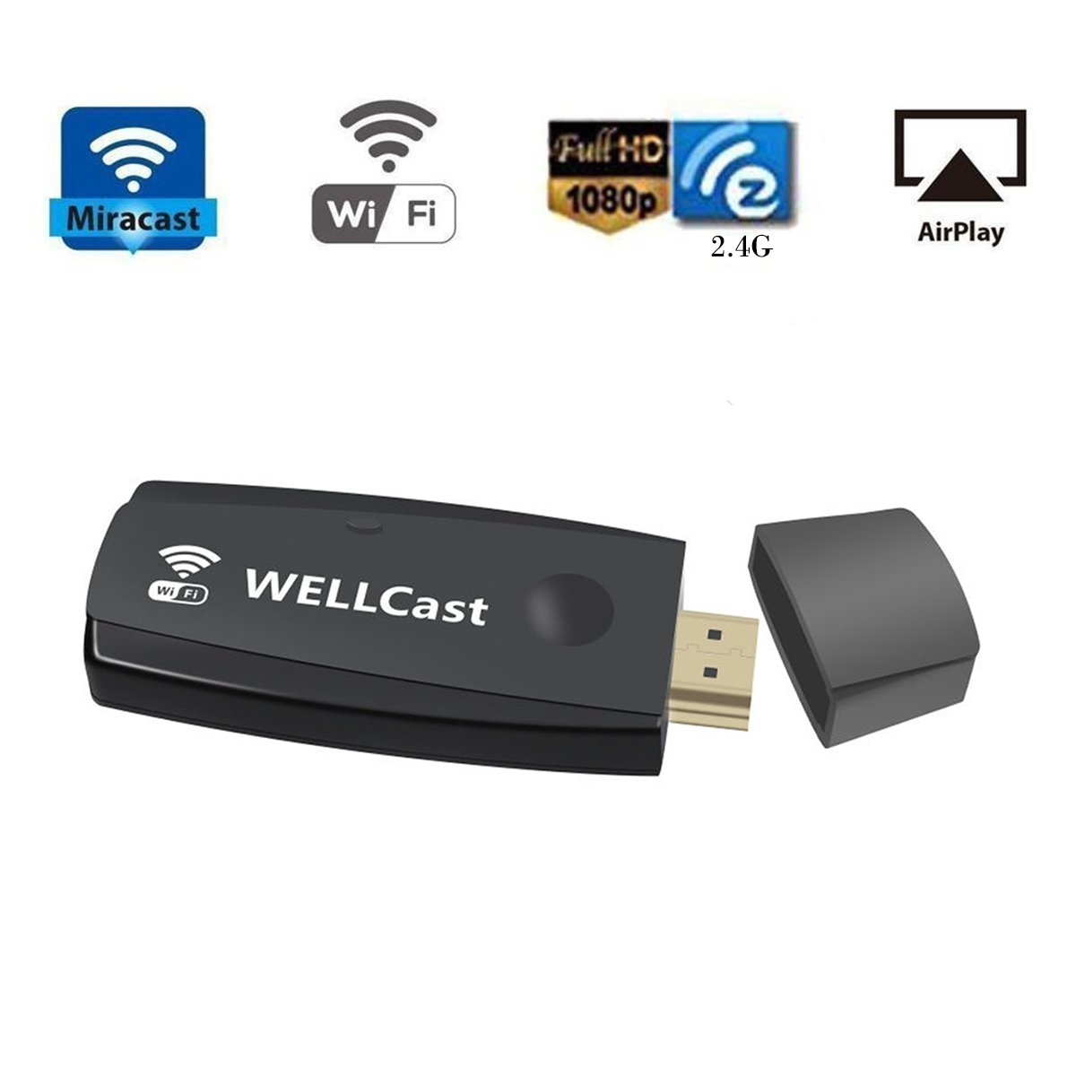 Miracast Dongle,2.4G Wireless TV Streaming Media,WiFi Display Adapter Share Video Audio Picture for iPhone, iPad, Samsung Android Smart Devices to TV Monitor Projector(With HDMI Extension Cable)