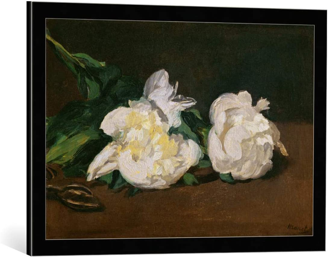 Kunst für Alle Cuadro con Marco: Edouard Manet Branch of White Peonies and Secateurs 1864